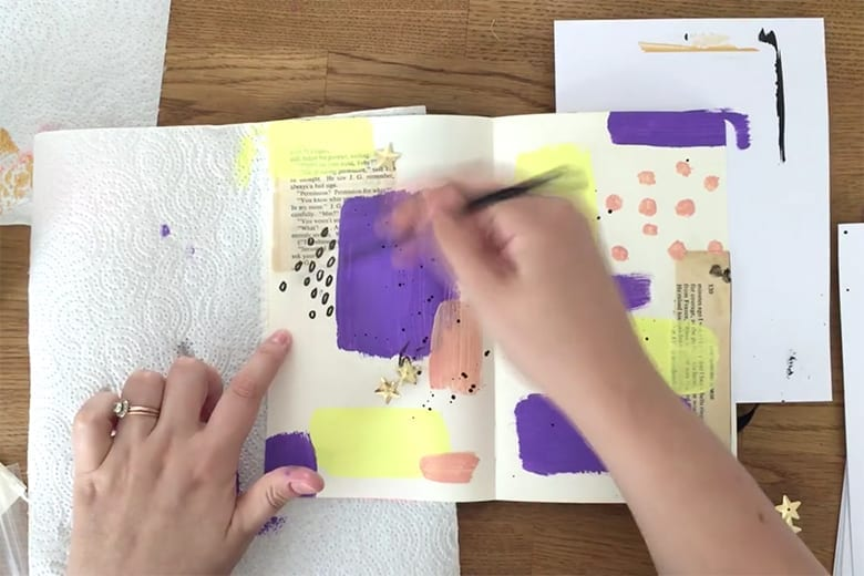 Abstract art journaling with acrylic paint and ephemera