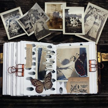 Use vintage photos and found words to tell a familiar or fictional story in your journal