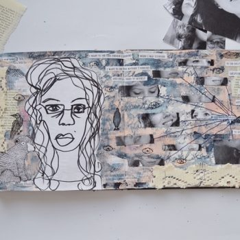 Creating a mixed media self portrait