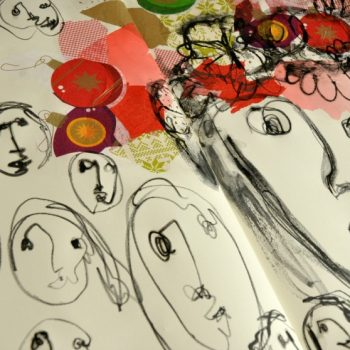 Creating self portraits through blind drawing